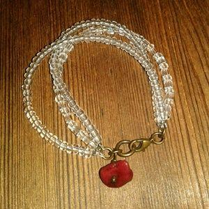 Clear Beaded Glass Bracelet,  Ladies